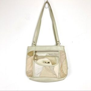 Vintage leather patchwork purse 80s 90s cream pink